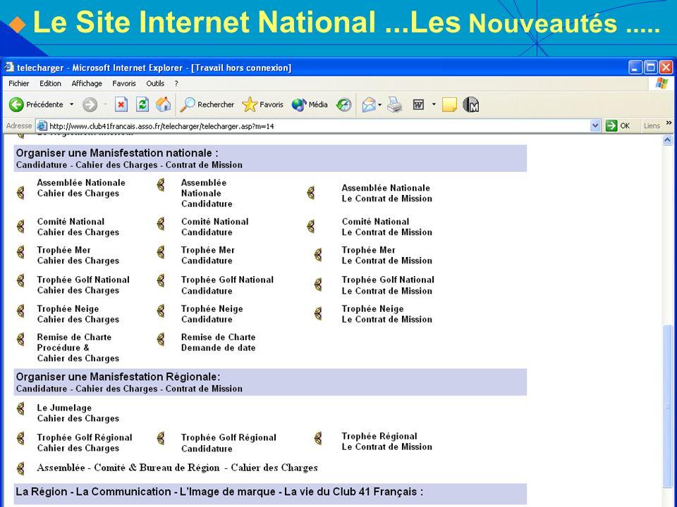Le Site Internet National...Les Nouveautés.....