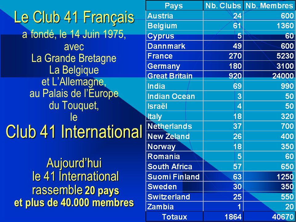 Le Club 41 Français Club 41 International Aujourdhui le 41 International rassemble 20 pays et plus de 40.000 membres Le Club 41 Français a fondé, le 14 Juin 1975, avec La Grande Bretagne La Belgique et LAllemagne, au Palais de lEurope du Touquet, le Club 41 International Aujourdhui le 41 International rassemble 20 pays et plus de 40.000 membres