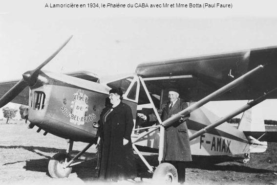 A Lamoricière en 1934, le Phalène du CABA avec Mr et Mme Botta (Paul Faure)