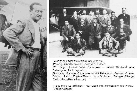 Le conseil dadministration du CABA en 1931. 1 er rang : Albert Monville, Charles Le Quilhec. 2 ème rang : Lucien Coën, Raoul Ayribier, Alfred Thiébaud