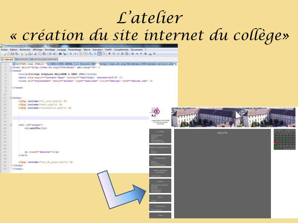 Latelier « création du site internet du collège»