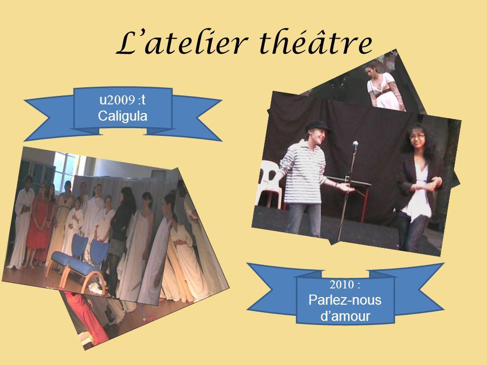 Latelier théâtre u 2009 : t Caligula 2010 : Parlez-nous damour