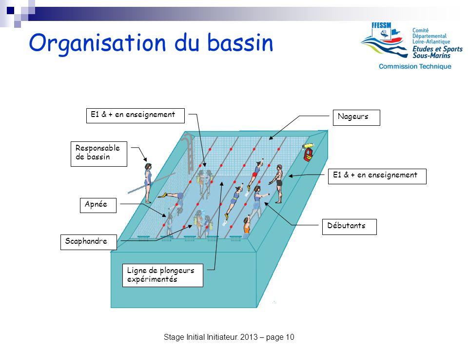 Stage Initial Initiateur. 2013 – page 10 Organisation du bassin Débutants Nageurs E1 & + en enseignement Responsable de bassin Ligne de plongeurs expé