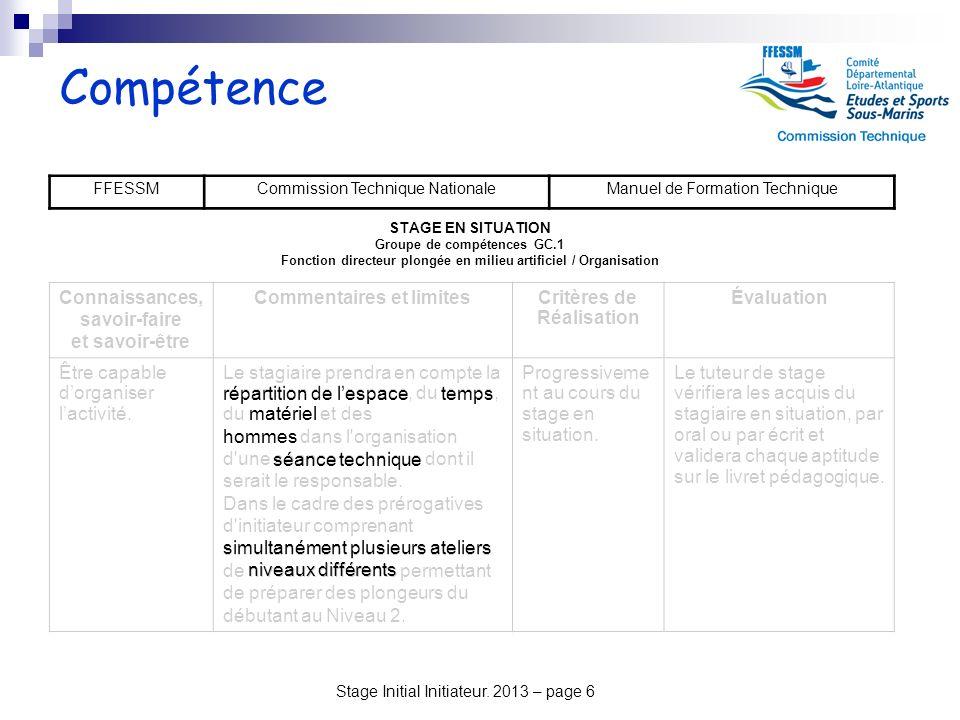 Stage Initial Initiateur. 2013 – page 6 Compétence FFESSMCommission Technique NationaleManuel de Formation Technique STAGE EN SITUATION Groupe de comp