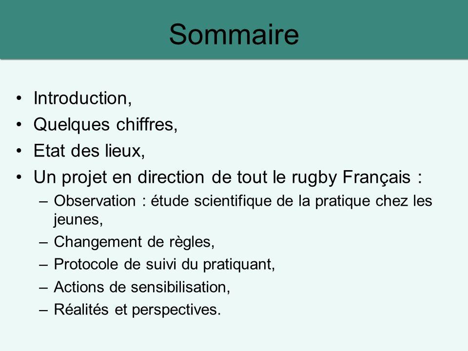 Sommaire Introduction, Quelques chiffres, Etat des lieux, Un projet en direction de tout le rugby Français : –Observation : étude scientifique de la p