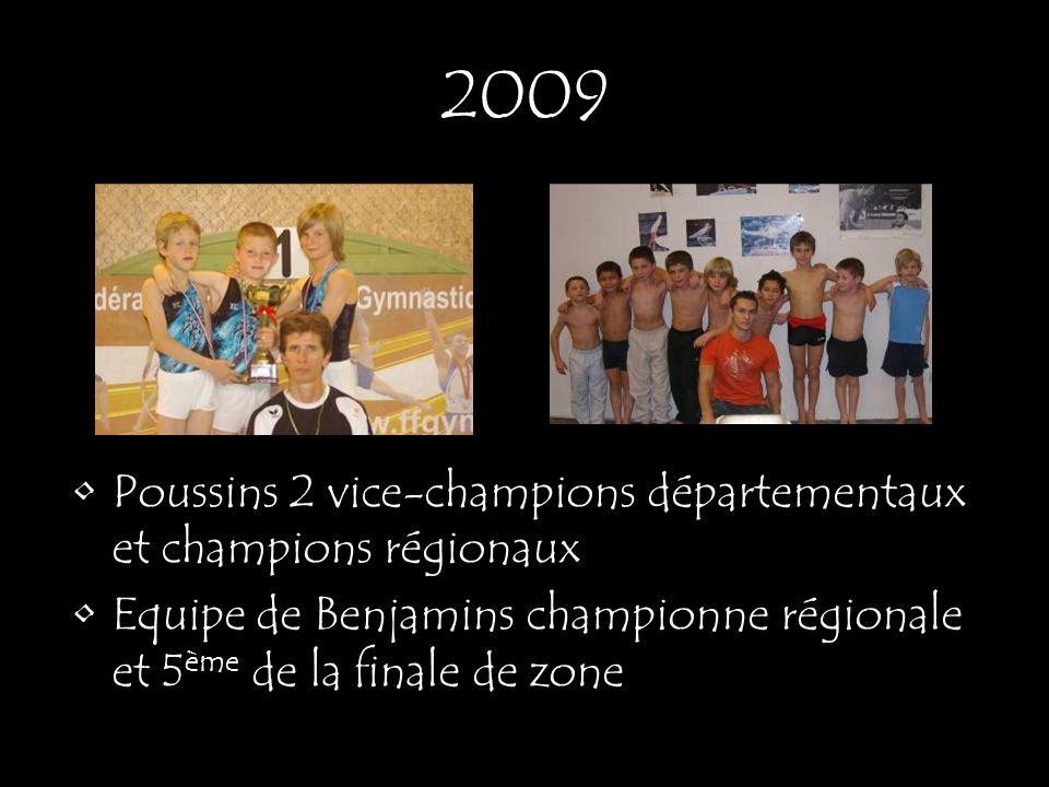 2009 Poussins 2 vice-champions départementaux et champions régionaux Equipe de Benjamins championne régionale et 5 ème de la finale de zone