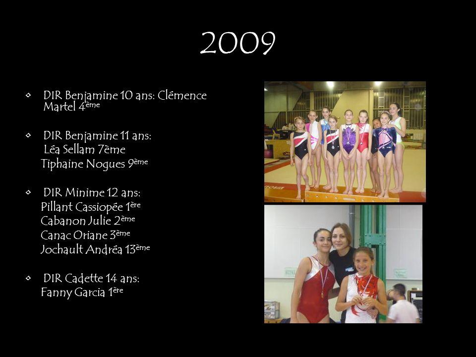 DIR Benjamine 10 ans: Clémence Martel 4 ème DIR Benjamine 11 ans: Léa Sellam 7ème Tiphaine Nogues 9 ème DIR Minime 12 ans: Pillant Cassiopée 1 ère Cab