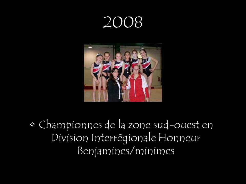 Equipe championne de la zone sud-ouest en Division Interrégionale Benjamines/minimes excellence Equipe DIR Benjamines/minimes/ cadettes 3 ème de la zone