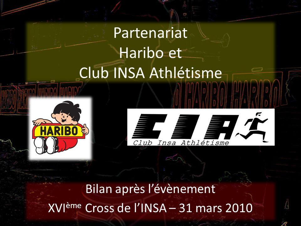 Partenariat Haribo et Club INSA Athlétisme Bilan après lévènement XVI ème Cross de lINSA – 31 mars 2010