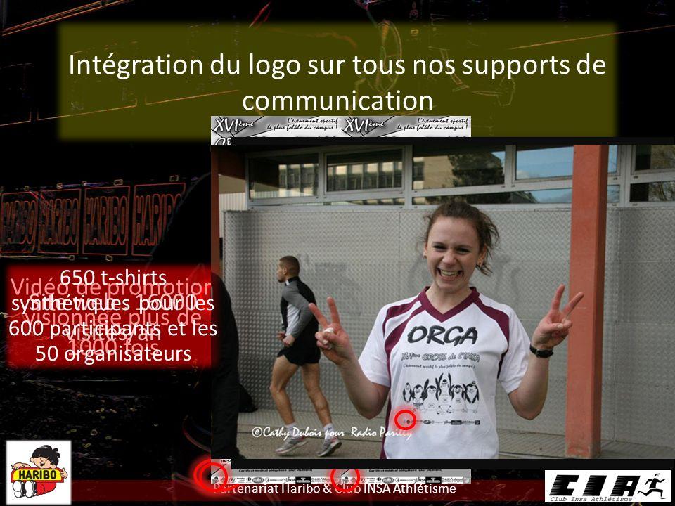 Partenariat Haribo & Club INSA Athlétisme Intégration du logo sur tous nos supports de communication 200 affiches4000 flyers Vidéo de promotion visionnée plus de 1000 fois Site web : 16000 visites/an 650 t-shirts synthétiques pour les 600 participants et les 50 organisateurs