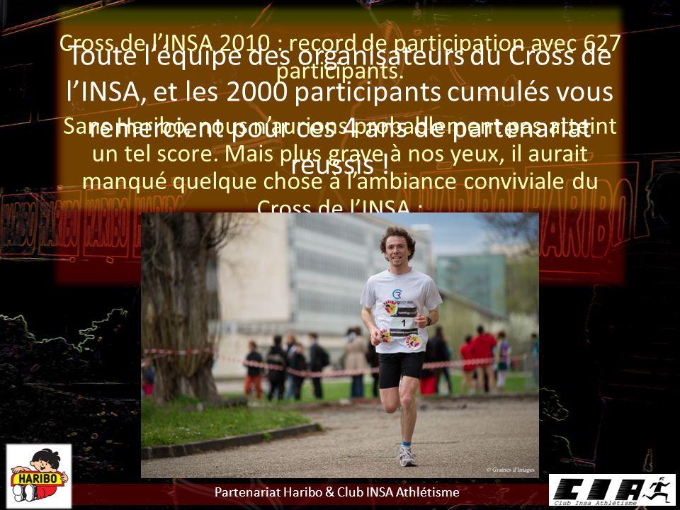 Partenariat Haribo & Club INSA Athlétisme Cross de lINSA 2010 : record de participation avec 627 participants.