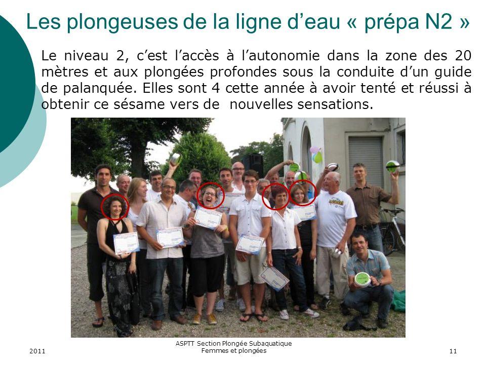 2011 ASPTT Section Plongée Subaquatique Femmes et plongées11 Les plongeuses de la ligne deau « prépa N2 » Le niveau 2, cest laccès à lautonomie dans l