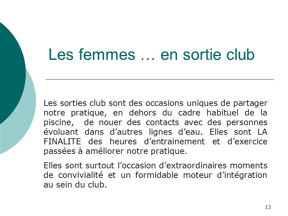 13 Les femmes … en sortie club Les sorties club sont des occasions uniques de partager notre pratique, en dehors du cadre habituel de la piscine, de n