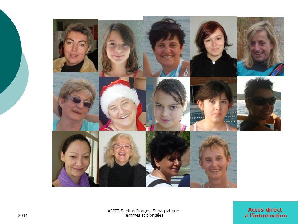 2011 ASPTT Section Plongée Subaquatique Femmes et plongées24 Dans léquipe dencadrement Le niveau de qualification des encadrantes de lASPTT va du niveau E1 (N2+initiateur) à E4(MF2).