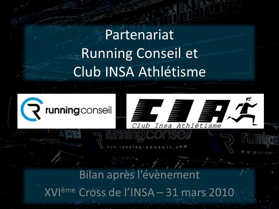 Partenariat Running Conseil et Club INSA Athlétisme Bilan après lévènement XVI ème Cross de lINSA – 31 mars 2010