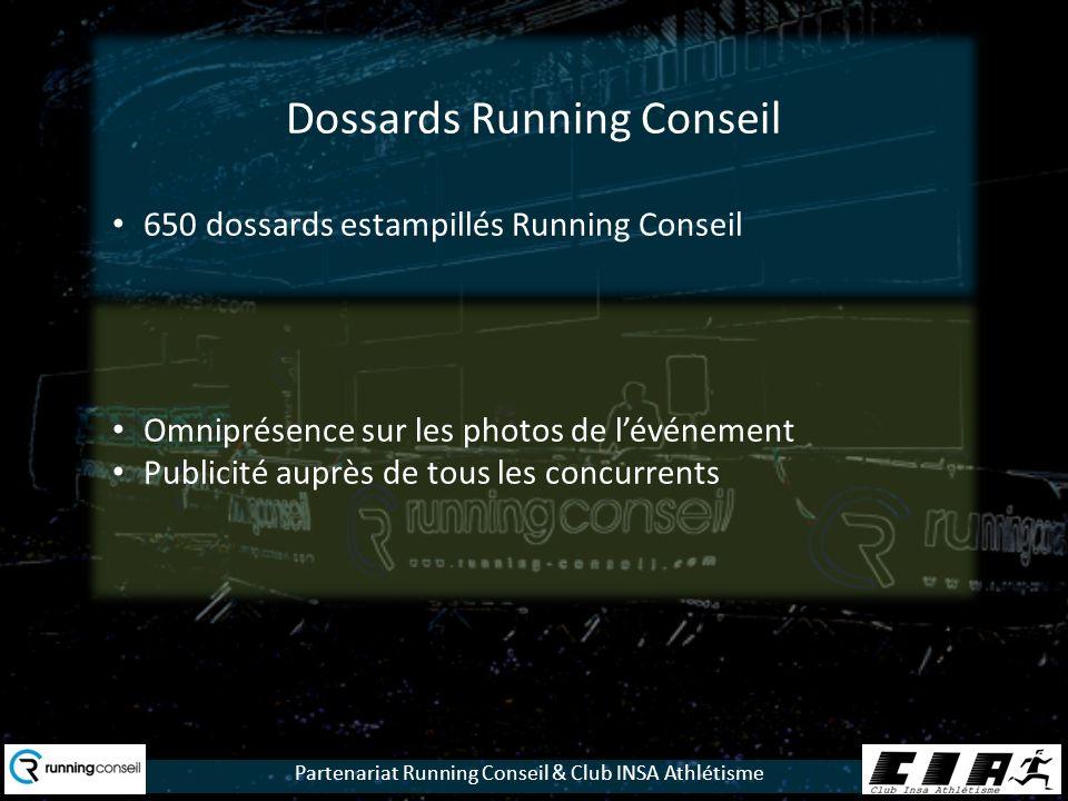 Partenariat Running Conseil & Club INSA Athlétisme Dossards Running Conseil 650 dossards estampillés Running Conseil Omniprésence sur les photos de lévénement Publicité auprès de tous les concurrents