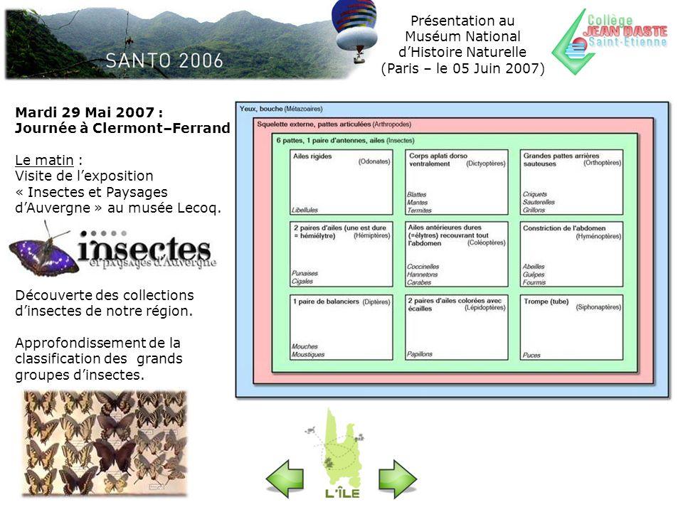 Mardi 29 Mai 2007 : Journée à Clermont–Ferrand Le matin : Visite de lexposition « Insectes et Paysages dAuvergne » au musée Lecoq. Découverte des coll