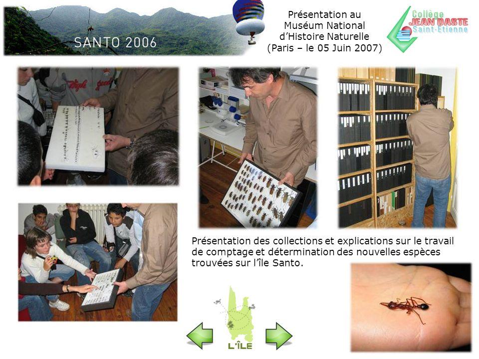 Présentation des collections et explications sur le travail de comptage et détermination des nouvelles espèces trouvées sur lîle Santo.