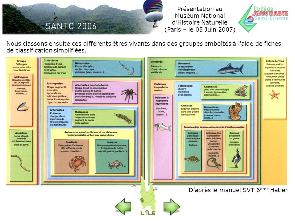 Présentation au Muséum National dHistoire Naturelle (Paris – le 05 Juin 2007) Nous classons ensuite ces différents êtres vivants dans des groupes embo