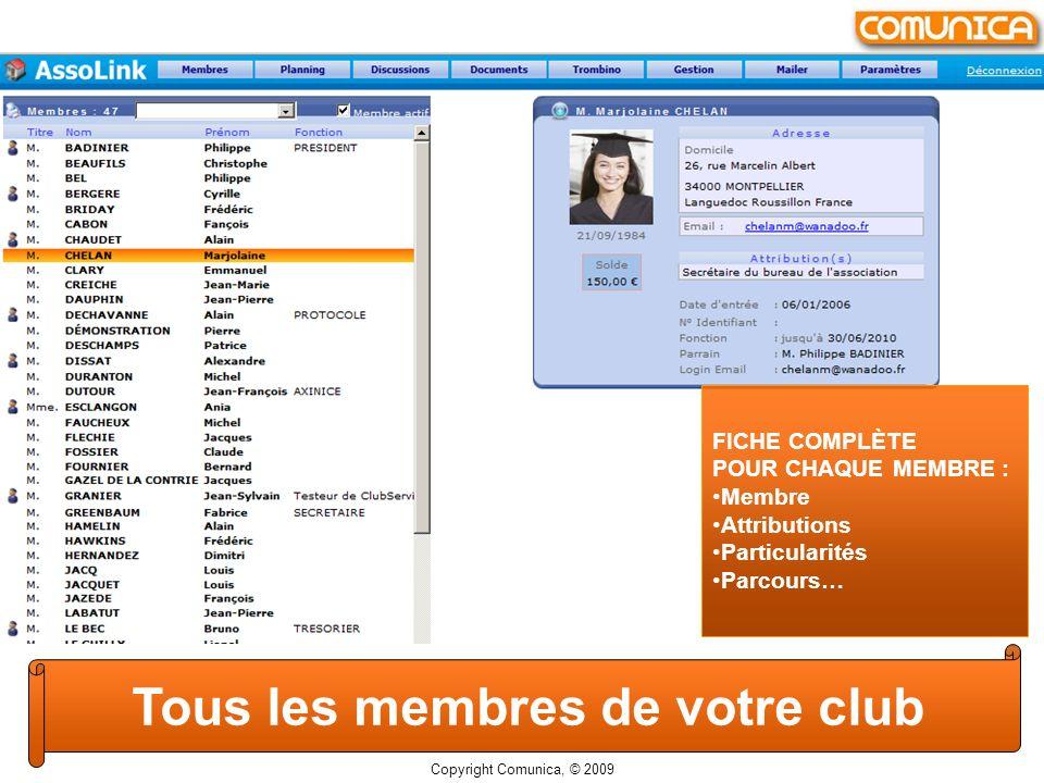 FICHE COMPLÈTE POUR CHAQUE MEMBRE : Membre Attributions Particularités Parcours… Tous les membres de votre club Copyright Comunica, © 2009