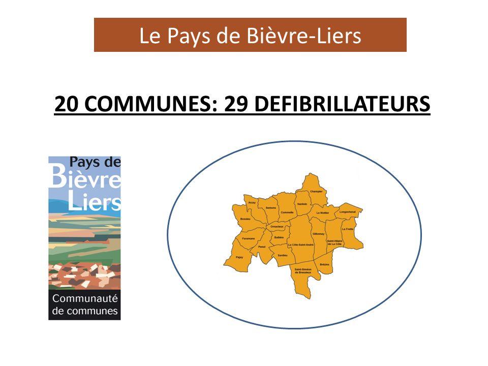 Le Pays de Bièvre-Liers 29 défibrillateurs20 20 COMMUNES: 29 DEFIBRILLATEURS