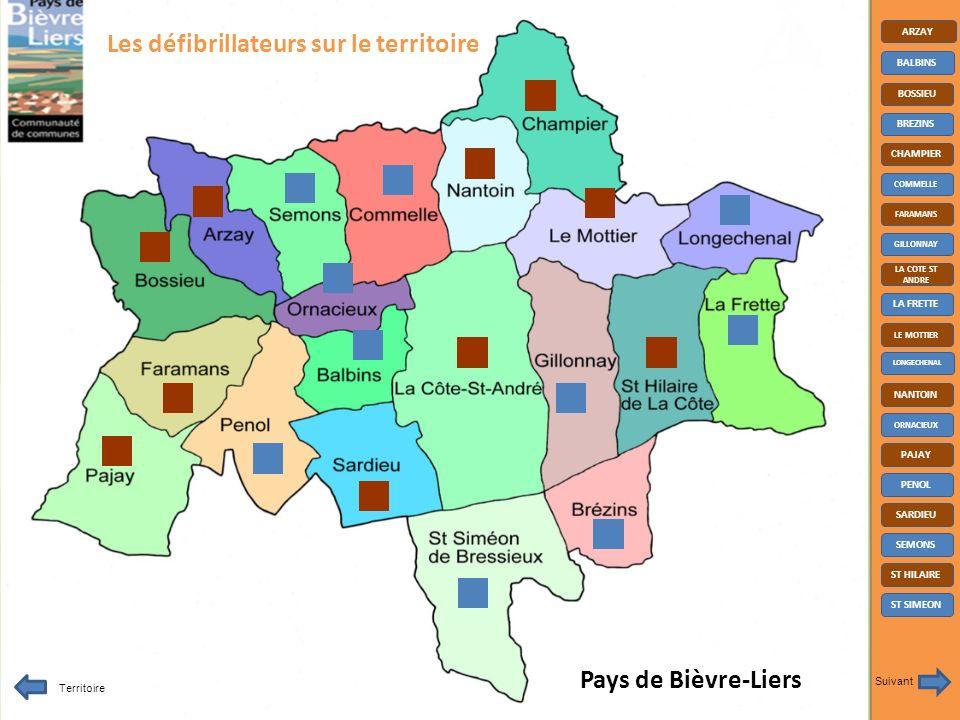 Pays de Bièvre-Liers ARZAY BALBINS BOSSIEU BREZINS CHAMPIER COMMELLE FARAMANS GILLONNAY LA COTE ST ANDRE LA FRETTE LE MOTTIER LONGECHENAL NANTOIN ORNACIEUX PAJAY PENOL SARDIEU SEMONS ST HILAIRE ST SIMEON Territoire Suivant Les défibrillateurs sur le territoire