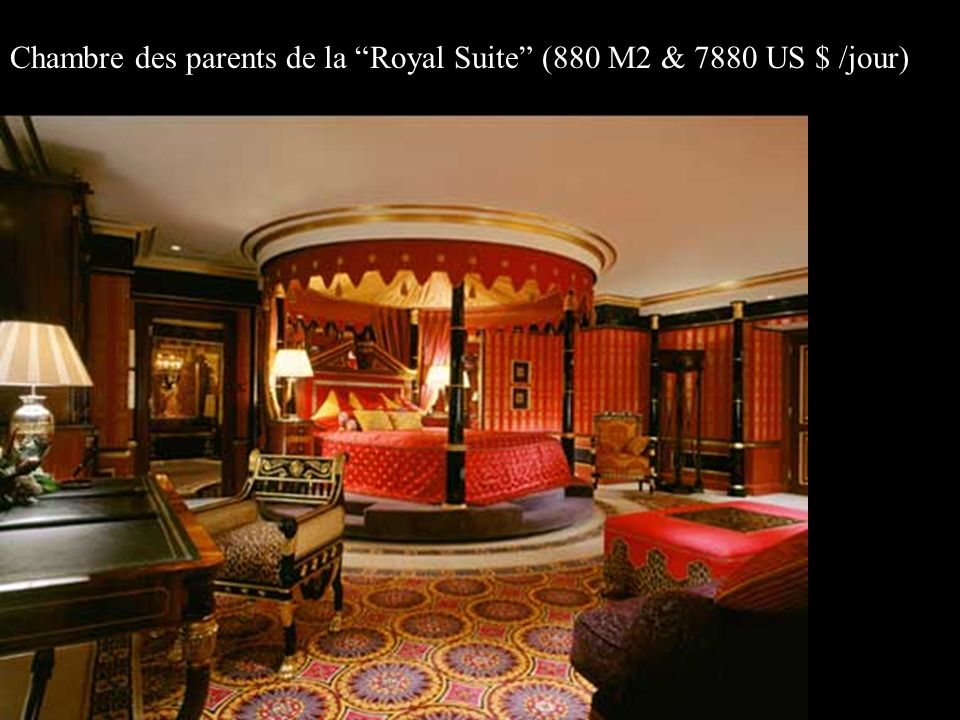 Chambre des parents de la Royal Suite (880 M2 & 7880 US $ /jour)