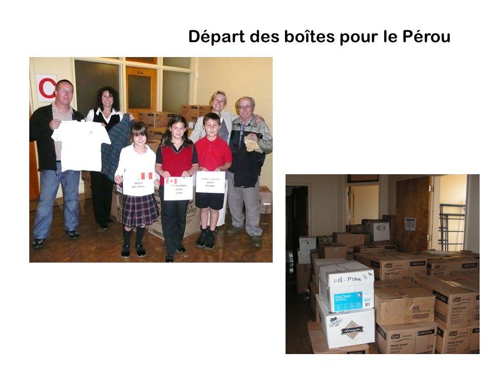 Départ des boîtes pour le Pérou