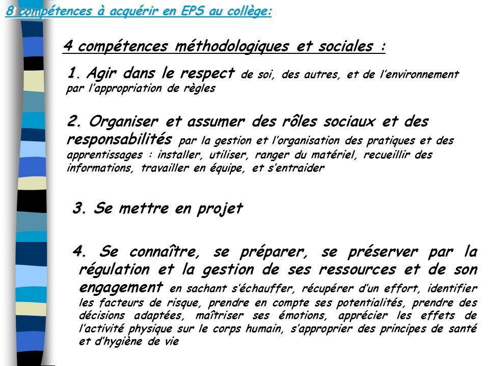 8 compétences à acquérir en EPS au collège: 4 compétences méthodologiques et sociales : 1.