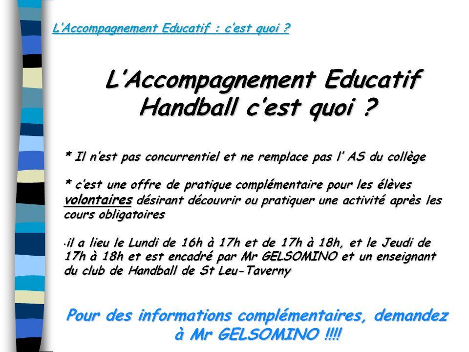 LAccompagnement Educatif : cest quoi .LAccompagnement Educatif Handball cest quoi .