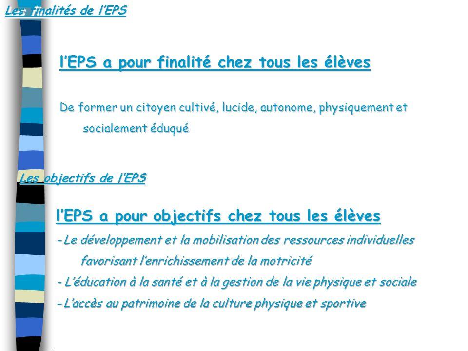 Quapprennent les élèves en EPS .Quapprennent les élèves en EPS .