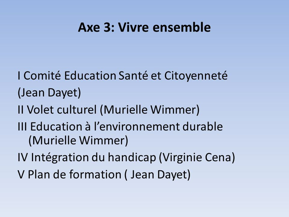 Axe 3: Vivre ensemble I Comité Education Santé et Citoyenneté (Jean Dayet) II Volet culturel (Murielle Wimmer) III Education à lenvironnement durable (Murielle Wimmer) IV Intégration du handicap (Virginie Cena) V Plan de formation ( Jean Dayet)