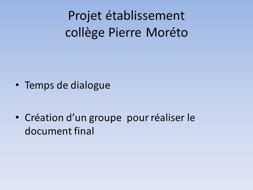 Projet établissement collège Pierre Moréto Temps de dialogue Création dun groupe pour réaliser le document final