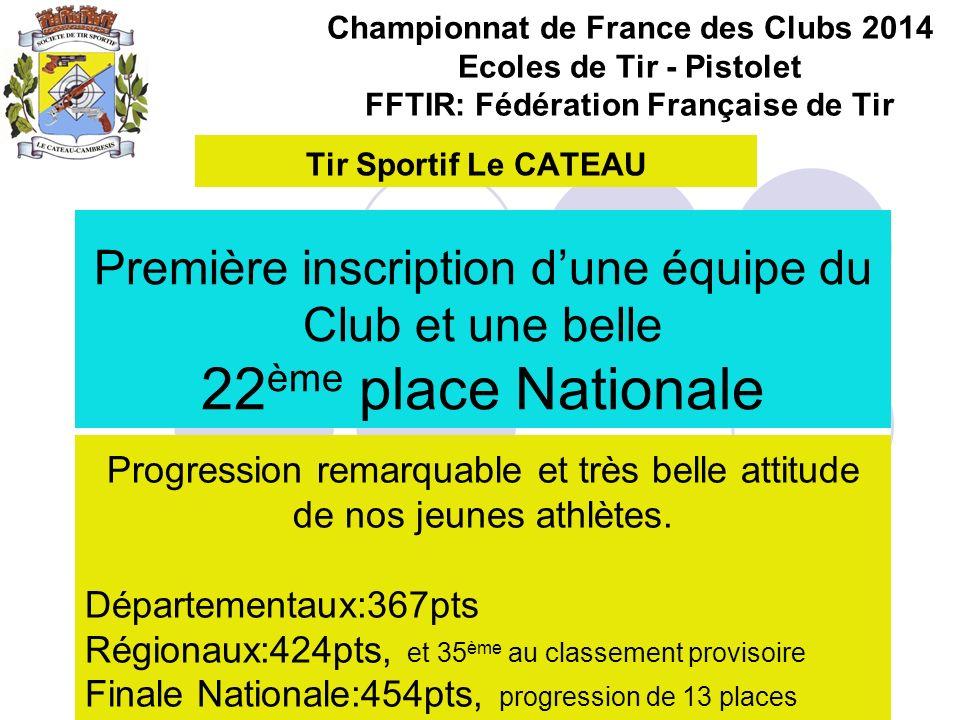 Championnat de France des Clubs 2014 Ecoles de Tir - Pistolet FFTIR: Fédération Française de Tir Première inscription dune équipe du Club et une belle