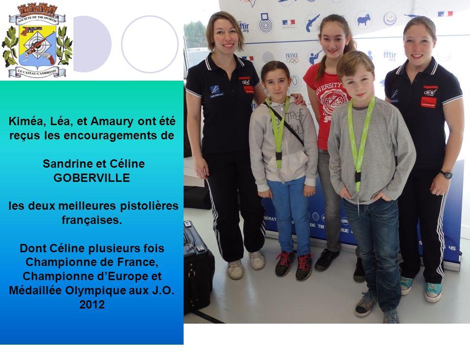 Kiméa, Léa, et Amaury ont été reçus les encouragements de Sandrine et Céline GOBERVILLE les deux meilleures pistolières françaises. Dont Céline plusie