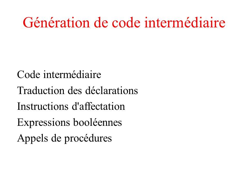 Génération de code intermédiaire Code intermédiaire Traduction des déclarations Instructions d'affectation Expressions booléennes Appels de procédures