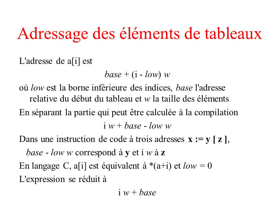 Adressage des éléments de tableaux L'adresse de a[i] est base + (i - low) w où low est la borne inférieure des indices, base l'adresse relative du déb