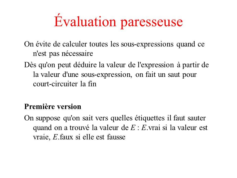 Évaluation paresseuse On évite de calculer toutes les sous-expressions quand ce n'est pas nécessaire Dès qu'on peut déduire la valeur de l'expression