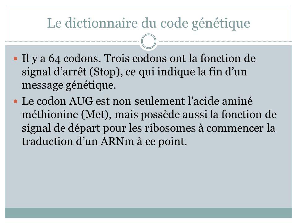 Le dictionnaire du code génétique Il y a 64 codons.