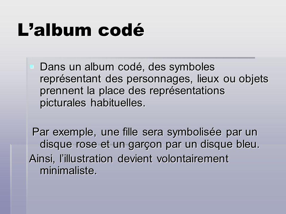 Lalbum codé Dans un album codé, des symboles représentant des personnages, lieux ou objets prennent la place des représentations picturales habituelle