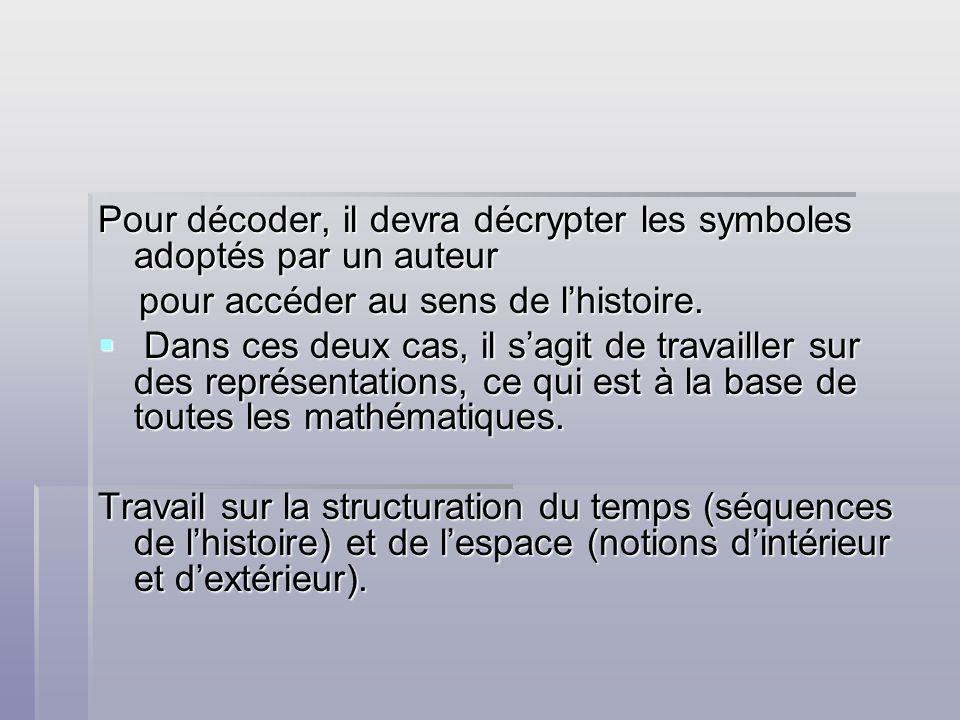 Pour décoder, il devra décrypter les symboles adoptés par un auteur pour accéder au sens de lhistoire. pour accéder au sens de lhistoire. Dans ces deu
