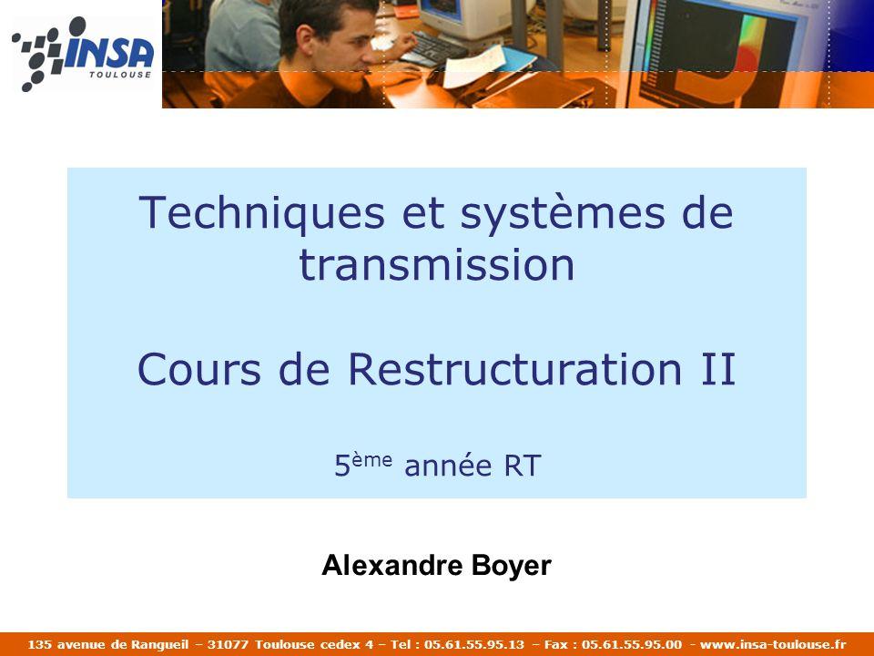 135 avenue de Rangueil – 31077 Toulouse cedex 4 – Tel : 05.61.55.95.13 – Fax : 05.61.55.95.00 - www.insa-toulouse.fr Techniques et systèmes de transmi