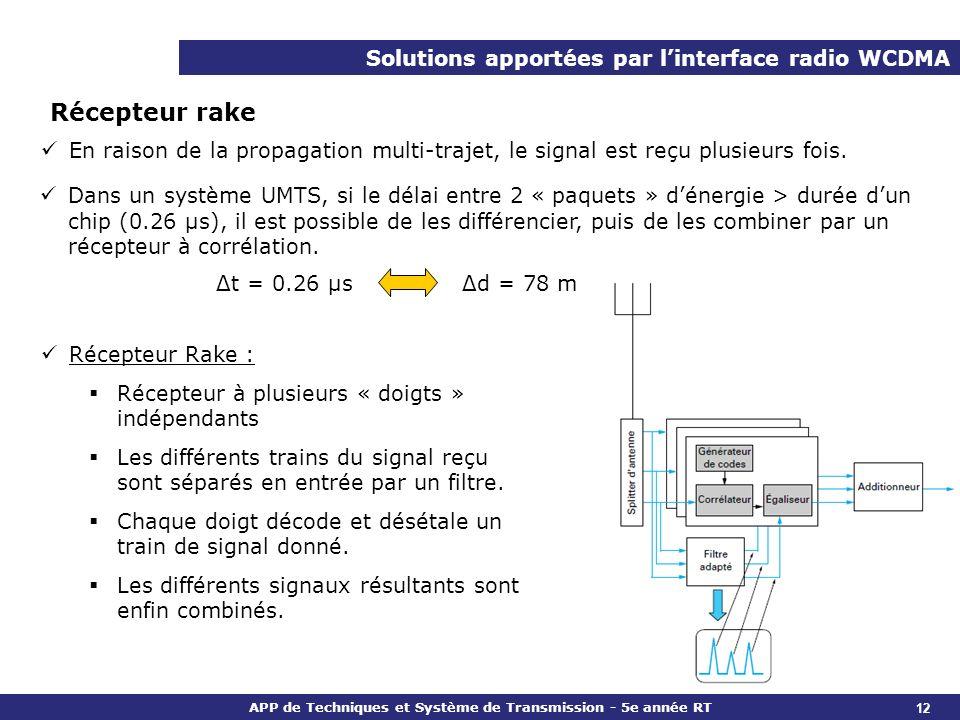 APP de Techniques et Système de Transmission - 5e année RT Solutions apportées par linterface radio WCDMA 12 Récepteur rake En raison de la propagatio