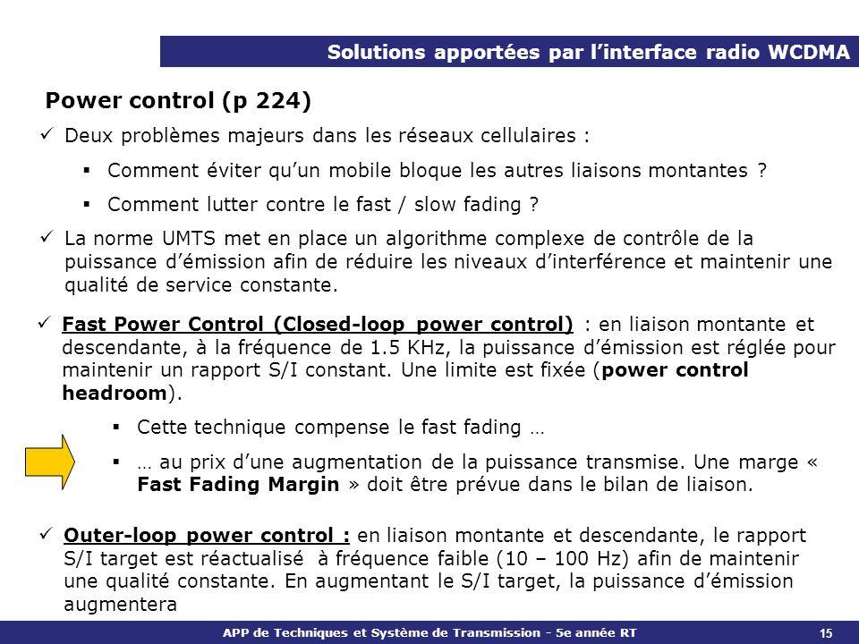 APP de Techniques et Système de Transmission - 5e année RT Solutions apportées par linterface radio WCDMA Power control (p 224) Deux problèmes majeurs