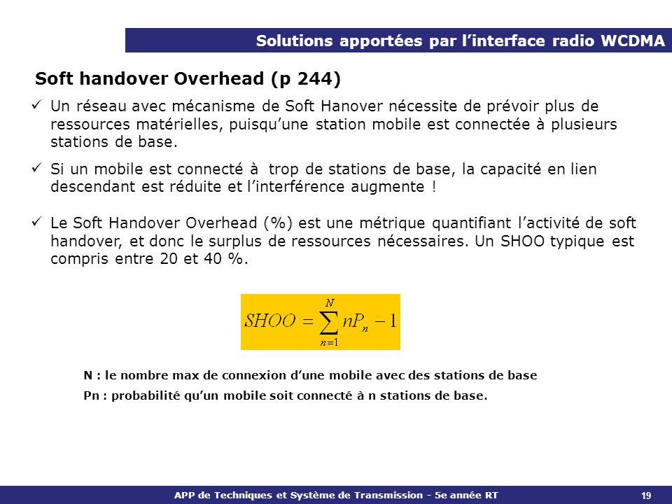 APP de Techniques et Système de Transmission - 5e année RT Solutions apportées par linterface radio WCDMA Soft handover Overhead (p 244) Un réseau ave