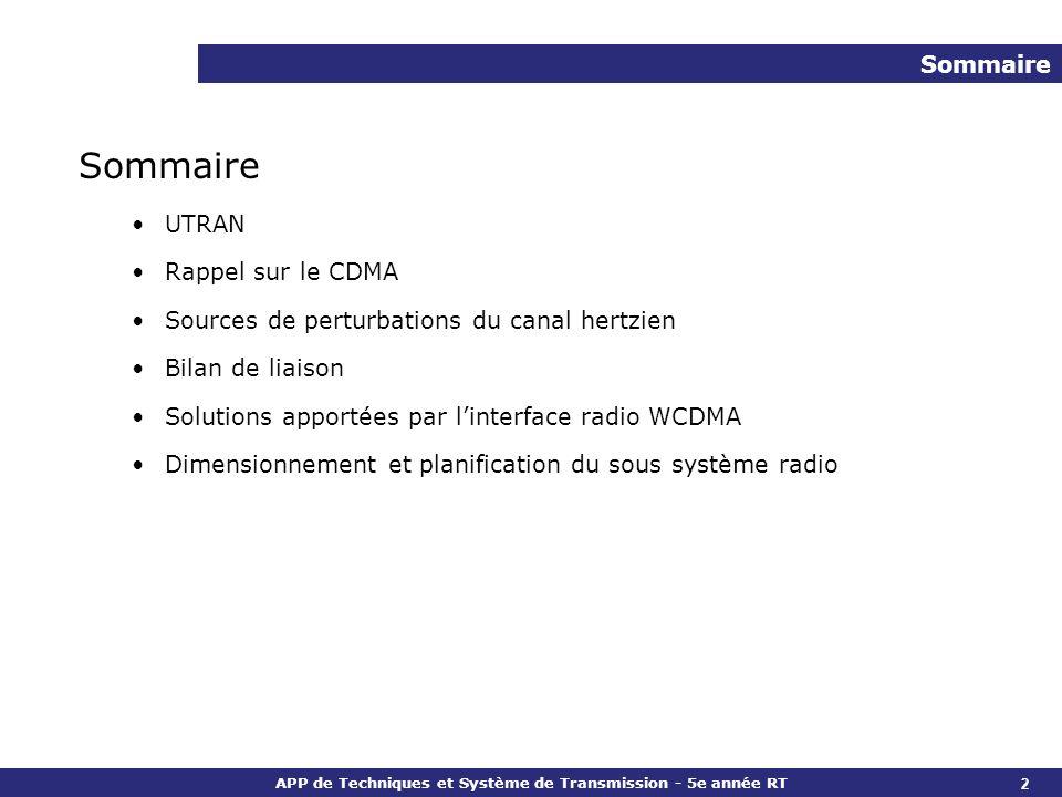 APP de Techniques et Système de Transmission - 5e année RT 2 Sommaire UTRAN Rappel sur le CDMA Sources de perturbations du canal hertzien Bilan de lia
