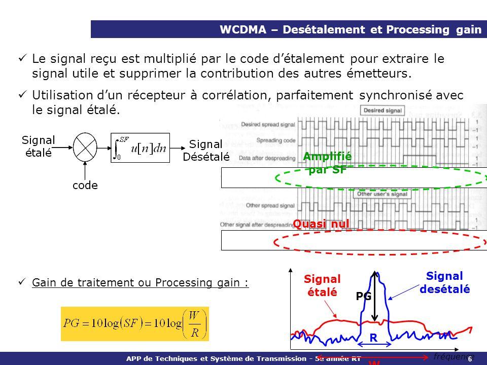APP de Techniques et Système de Transmission - 5e année RT WCDMA – Desétalement et Processing gain Le signal reçu est multiplié par le code détalement