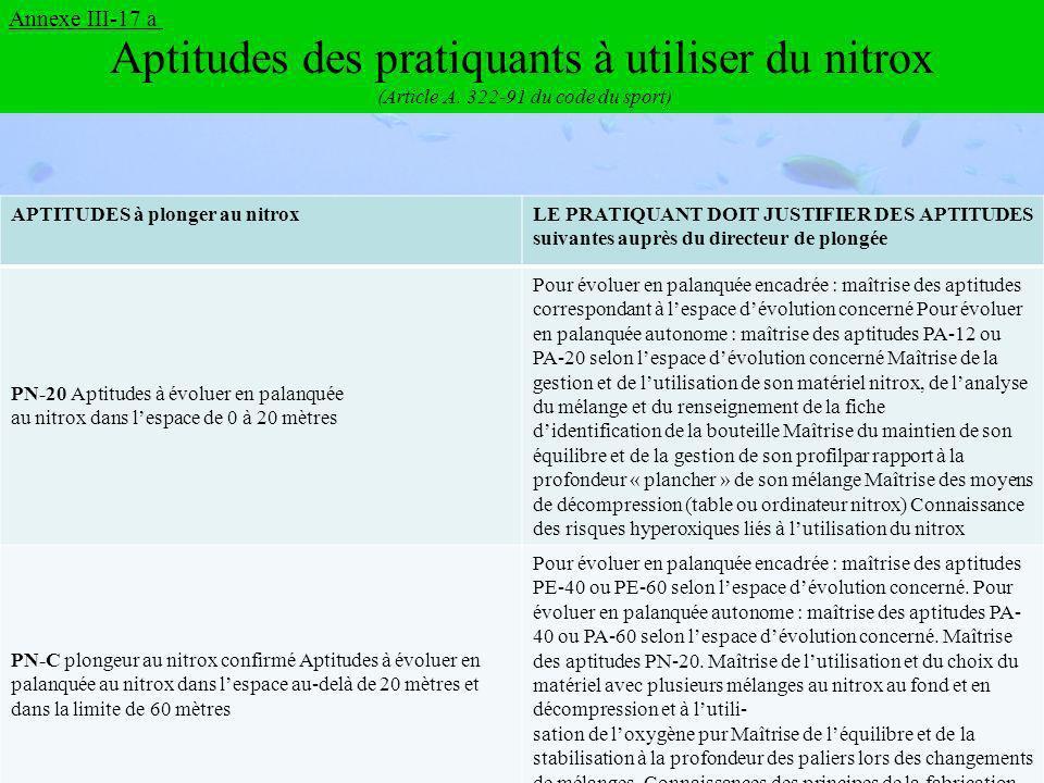 Aptitudes des pratiquants à utiliser du nitrox (Article A.