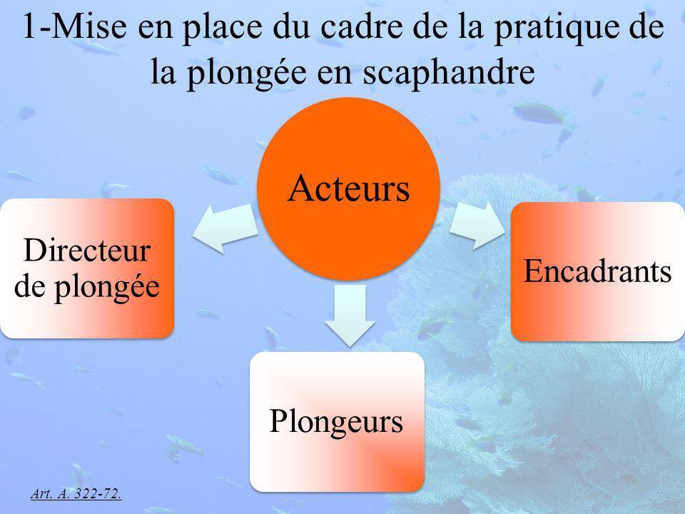 1-Mise en place du cadre de la pratique de la plongée en scaphandre Acteurs Directeur de plongée PlongeursEncadrants Art.