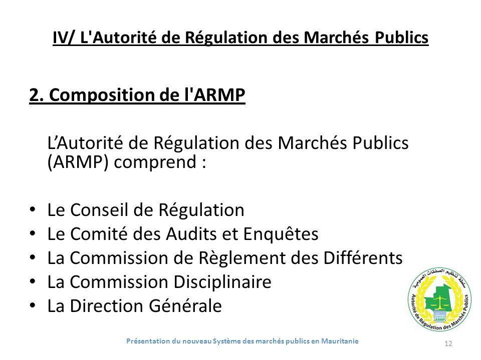 IV/ L'Autorité de Régulation des Marchés Publics 2. Composition de l'ARMP LAutorité de Régulation des Marchés Publics (ARMP) comprend : Le Conseil de